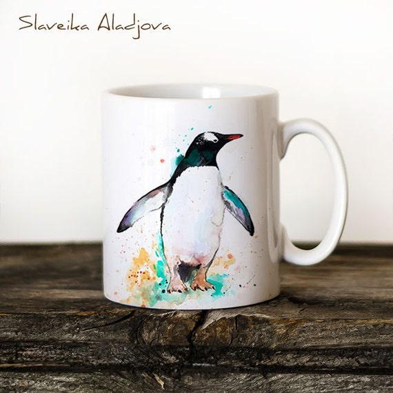 Gentoo penguin Mug Watercolor Ceramic Mug Unique Gift Coffee Mug Animal Mug Tea Cup Art Illustration Cool Kitchen Art Printed