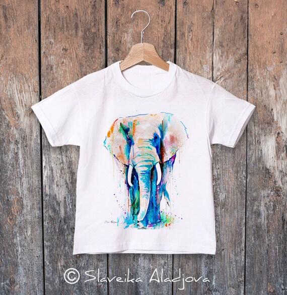 African Elephant  watercolor kids T-shirt, Boys' Clothing, Girls' Clothing, ring spun Cotton 100%, watercolor print T-shirt, T shirt art