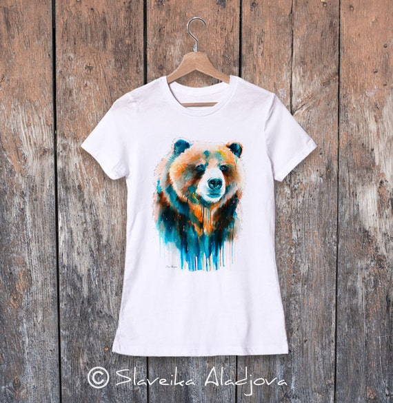 Grizzly bear watercolor ladies' T-shirt, women's tees, Teen Clothing, Girls' Clothing, ring spun Cotton 100%, watercolor print T-shirt,art