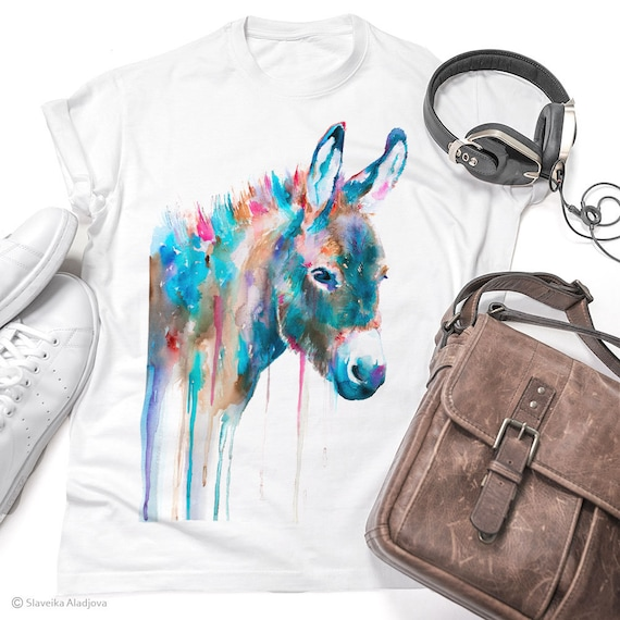 Donkey T-shirt, Watercolor unisex T-shirt, Men's tees, Donkey Lover Gift, Funny Donkey T-Shirt, ring spun Cotton 100%, Colourful print