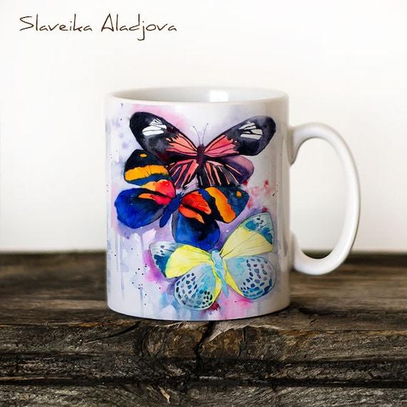 Butterflies  Mug Watercolor Ceramic Mug Unique Gift Coffee Mug Animal Mug Tea Cup Art Illustration Cool Kitchen Art Printed mug