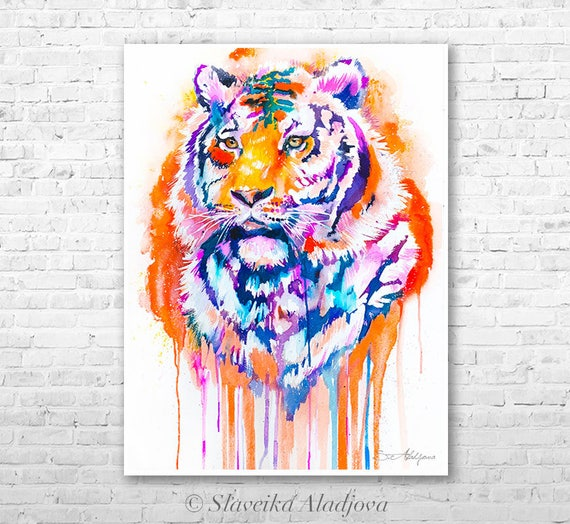 Tiger watercolor painting print by Slaveika Aladjova, art, animal, illustration, home decor, Nursery, gift, Wildlife, wall art, cat