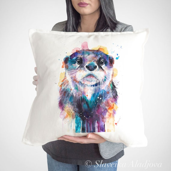Otter throw pillow cover by Slaveika Aladjova, cushion cover, Decorative Pillow Cover, Animal Art, Watercolor pillow, Christmas gift