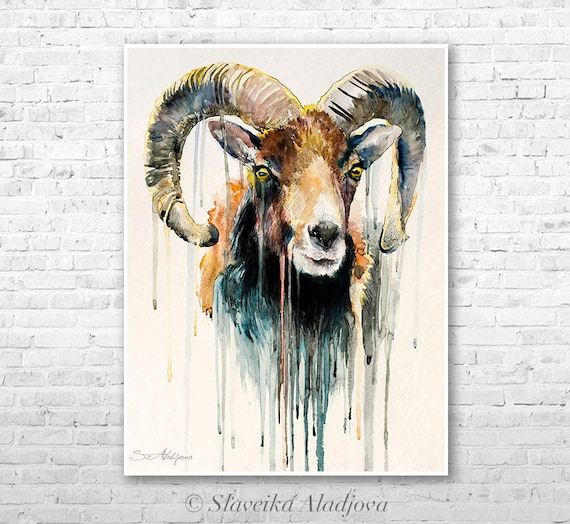 Mouflon watercolor painting print by Slaveika Aladjova, ram, art, animal, illustration, home decor, wall art, gift, portrait, Contemporary