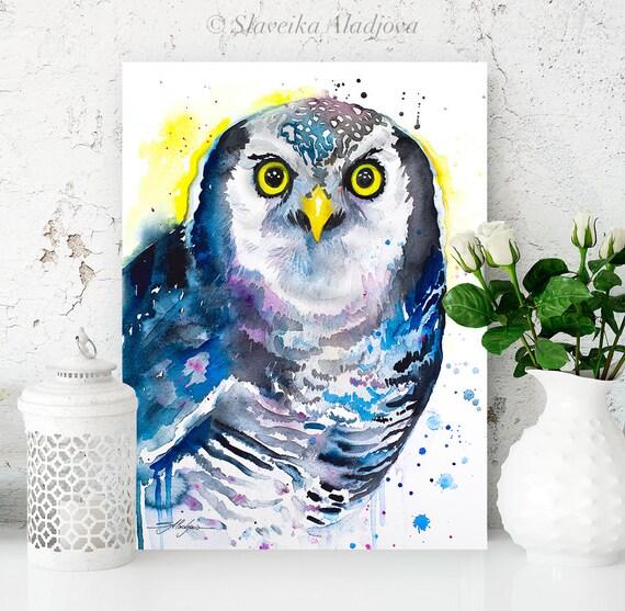 Northern hawk owl watercolor painting print by Slaveika Aladjova, art, animal, illustration, bird, home decor, wall art, gift,