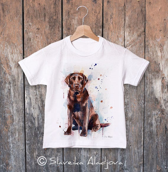 Chocolate Labrador watercolor kids T-shirt, Boys' Clothing, Girls' Clothing, ring spun Cotton 100%, watercolor print T-shirt,T shirt art