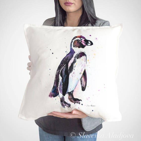 Humboldt penguin throw pillow cover by Slaveika Aladjova, cushion cover, Decorative Pillow Cover, Animal Art, Watercolor pillow, Christmas