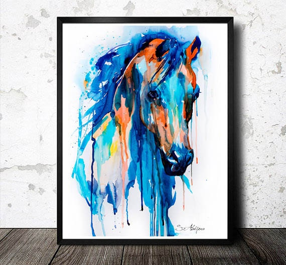 Original Watercolour Painting- Horseeeeeee watercolor, animal, illustration, animal watercolor, animals, portrait, blue, watercolor