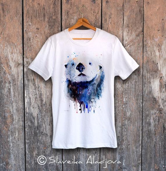 Sea Otter T-shirt, Unisex T-shirt, ring spun Cotton 100%, watercolor print T-shirt, T shirt art, T shirt animal,XS, S, M, L, XL, XXL