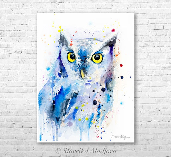 Screech owl watercolor painting print by Slaveika Aladjova, art, animal, illustration, bird, home decor, wall art, gift, Wildlife