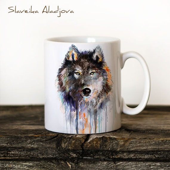 Wolf 2 Mug Watercolor Ceramic Mug Unique Gift Coffee Mug Animal Mug Tea Cup Art Illustration Cool Kitchen Art Printed mug Wolf