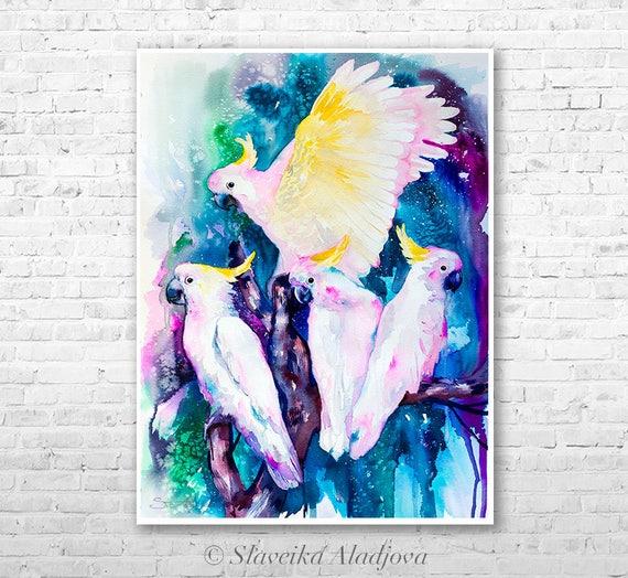 Cockatoo parrot watercolor painting print by Slaveika Aladjova,art, animal, illustration, bird, home decor, wall art, Wildlife, Contemporary