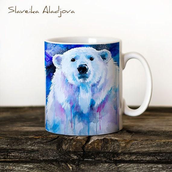 Polar bear Mug Watercolor Ceramic Mug Bear Unique Gift Coffee Mug Animal Mug Tea Cup Art Illustration Cool Kitchen Art Printed mug