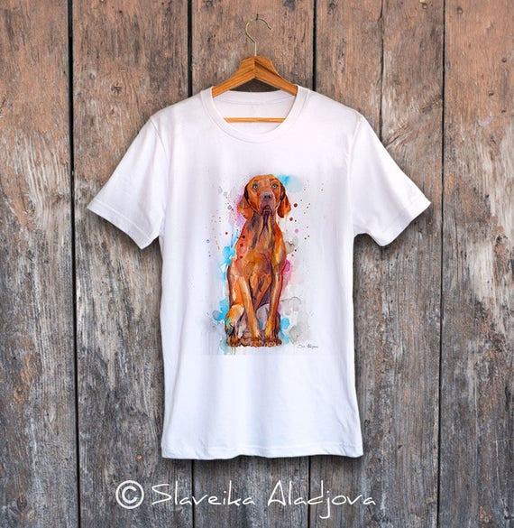 Vizsla T-shirt, Unisex T-shirt, ring spun Cotton 100%, watercolor print T-shirt, T shirt art, T shirt animal,XS, S, M, L, XL, XXL