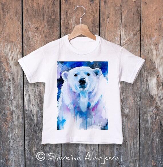 Polar bear watercolor kids T-shirt, Boys' Clothing, Girls' Clothing, ring spun Cotton 100%, watercolor print T-shirt, T shirt art