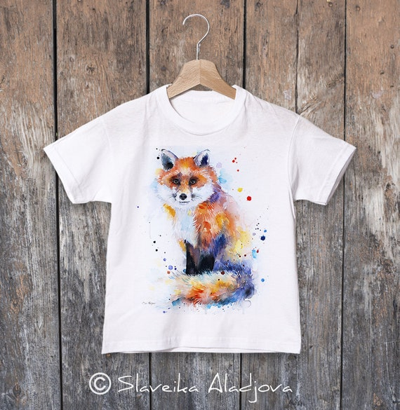 Fox watercolor kids T-shirt, Boys' Clothing, Girls' Clothing, ring spun Cotton 100%, watercolor print T-shirt, T shirt art,animal