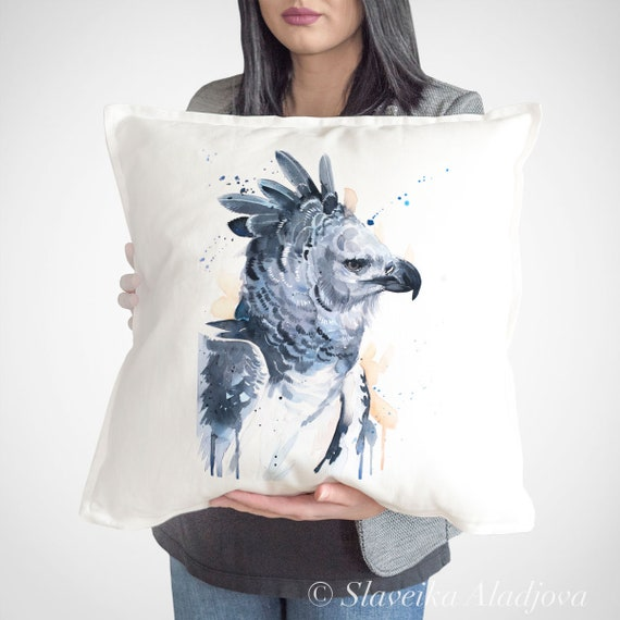 Harpy eagle  throw pillow cover by Slaveika Aladjova, cushion cover, Decorative Pillow Cover, Animal Art, Watercolor pillow, Christmas gift