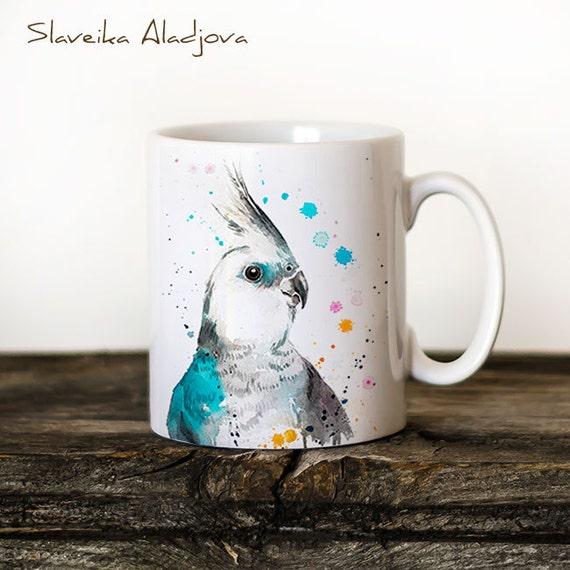 Cockatiel parrot  Mug Watercolor Ceramic Mug Unique Gift Coffee Mug Animal Mug Tea Cup Art Illustration Cool Kitchen Art Printed