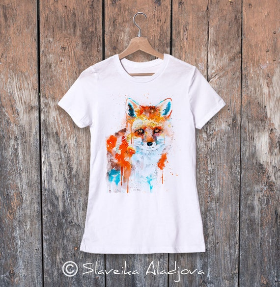 Fox watercolor ladies' T-shirt, women's tees, Teen Clothing, Girls' Clothing, ring spun Cotton 100%, watercolor print