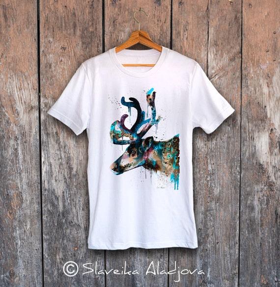 Reindeer T-shirt, Unisex T-shirt, ring spun Cotton 100%, watercolor print T-shirt, T shirt art, T shirt animal,XS, S, M, L, XL, XXL