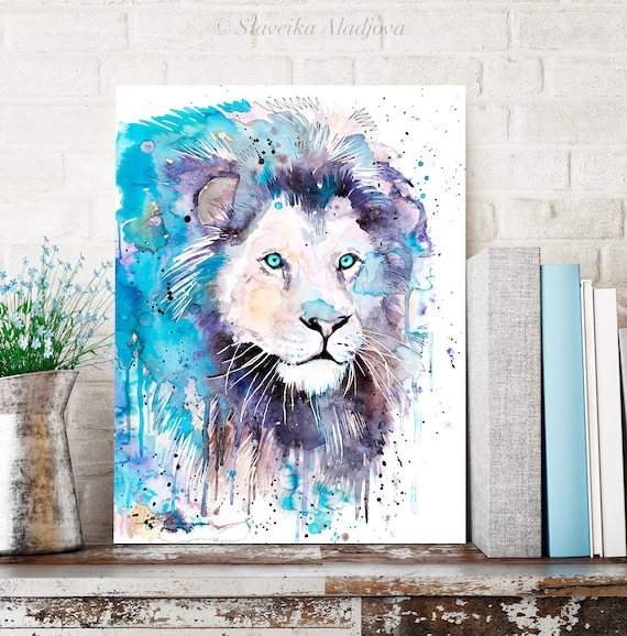 Blue Lion watercolor painting print by Slaveika Aladjova, art, animal, illustration, home decor, Nursery, gift, Wildlife, wall art