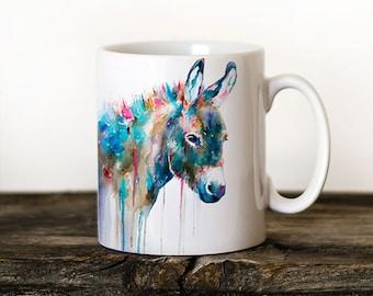 Donkey 2 Mug Watercolor Ceramic Mug Elephant Unique Gift Coffee Mug Animal Mug Tea Cup Art Illustration Cool Kitchen Art Printed mug