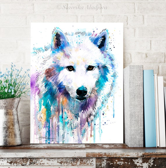 Arctic Wolf watercolor painting print by Slaveika Aladjova, art, animal, illustration, home decor, Nursery, gift, Wildlife, Contemporary