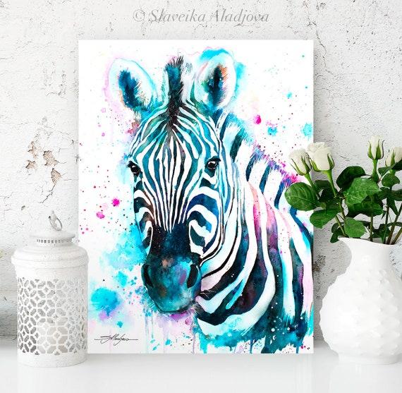 Blue Zebra watercolor painting print by Slaveika Aladjova, art, animal, illustration, home decor, Nursery, gift, Wildlife, wall art