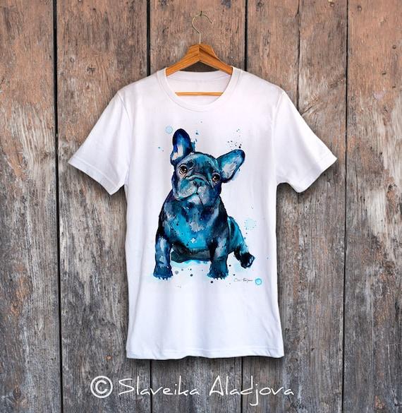 French Bulldog T-shirt, Unisex T-shirt, ring spun Cotton 100%, watercolor print T-shirt, T shirt art, T shirt animal,XS, S, M, L, XL, XXL