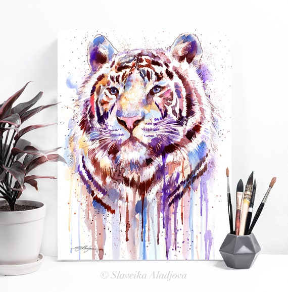 Purple tiger watercolor painting print by Slaveika Aladjova, art, animal, illustration, home decor, Nursery, gift, Wildlife, wall art, cat