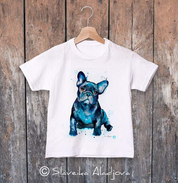 French Bulldog watercolor kids T-shirt, Boys' Clothing, Girls' Clothing, ring spun Cotton 100%, watercolor print T-shirt, T shirt art,animal