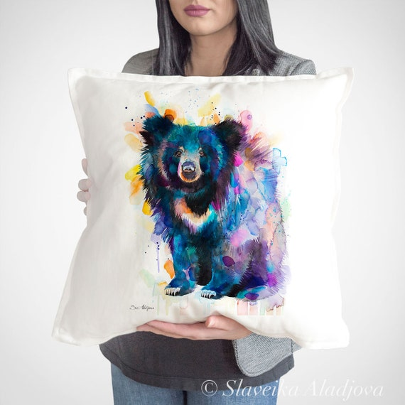 Sloth bear throw pillow cover by Slaveika Aladjova, cushion cover, Decorative Pillow Cover, Animal Art, Watercolor pillow, gift