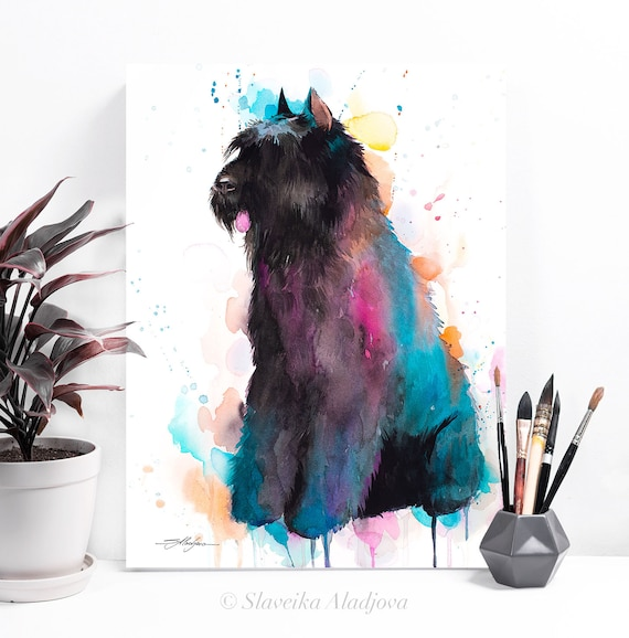 Bouvier des Flandres watercolor painting print by Slaveika Aladjova, art, animal, illustration, home decor, Nursery, Contemporary, dog art