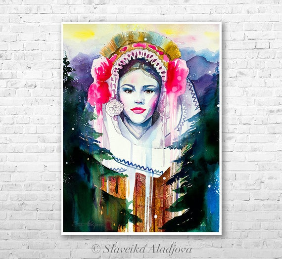 Fashion Illustration 4 watercolor painting print by Slaveika Aladjova, Woman art, Girl Illustration, Bulgarian national costume, wall art