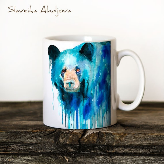 American black bear Mug Watercolor Ceramic Mug Bear Unique Gift Coffee Mug Animal Mug Tea Cup Art Illustration Cool Kitchen Art Printed mug