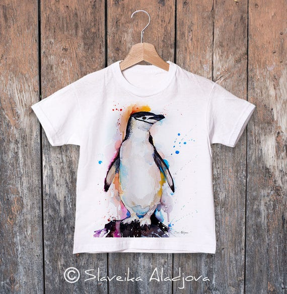 Chinstrap penguin watercolor kids T-shirt, Boys' Clothing, Girls' Clothing, ring spun Cotton 100%, watercolor print T-shirt, T shirt art