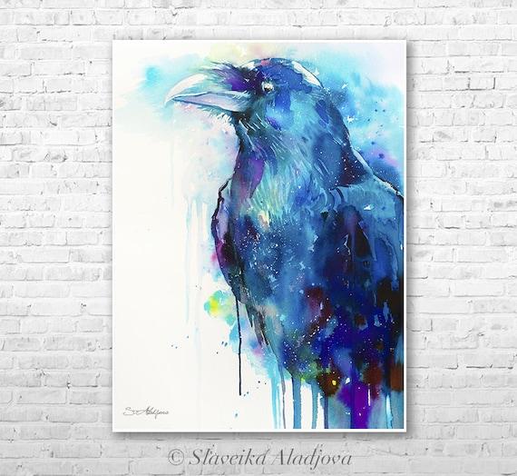 Raven watercolor  painting print by Slaveika Aladjova, art, animal, illustration, bird, home decor, wall art, gift, portrait,