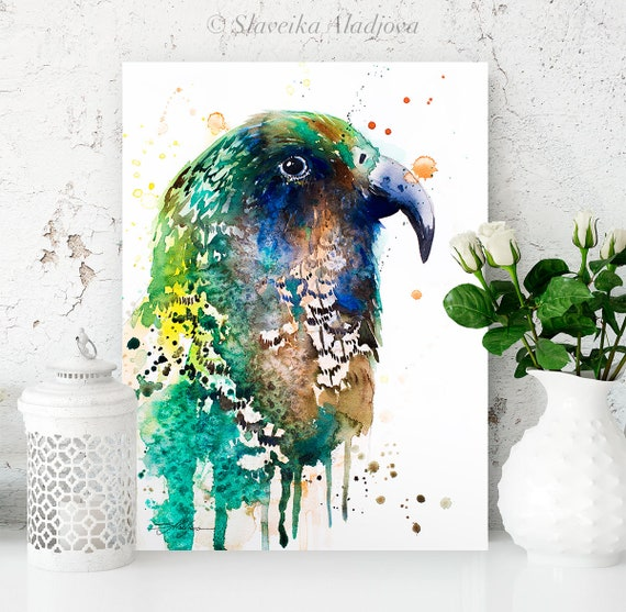 Kea watercolor painting print by Slaveika Aladjova, art, animal, illustration, bird, home decor, wall art, gift, Wildlife