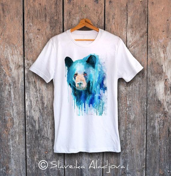 Black bear T-shirt, Unisex T-shirt, ring spun Cotton 100%, watercolor T-shirt, T shirt art, T shirt animal, XS, S, M, L, XL, XXL