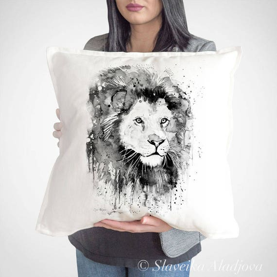 Lion throw pillow cover by Slaveika Aladjova, cushion cover, Decorative Pillow Cover, Animal Art, Watercolor pillow, Christmas gift