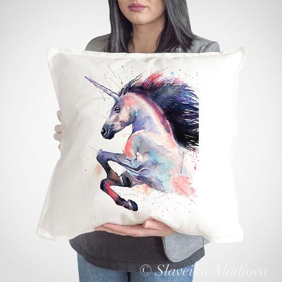 Unicorn Cushion Cover, Unicorn throw pillow, Decorative Cushion Cover, Animal lover gift idea, Watercolor pillow, Cute Unicorn print