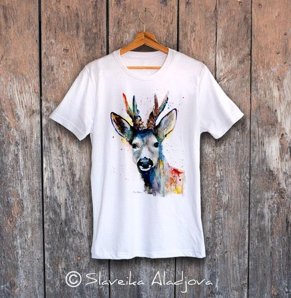 Deer T-shirt, Unisex T-shirt, ring spun Cotton 100%, watercolor print T-shirt, T shirt art, T shirt animal,XS, S, M, L, XL, XXL