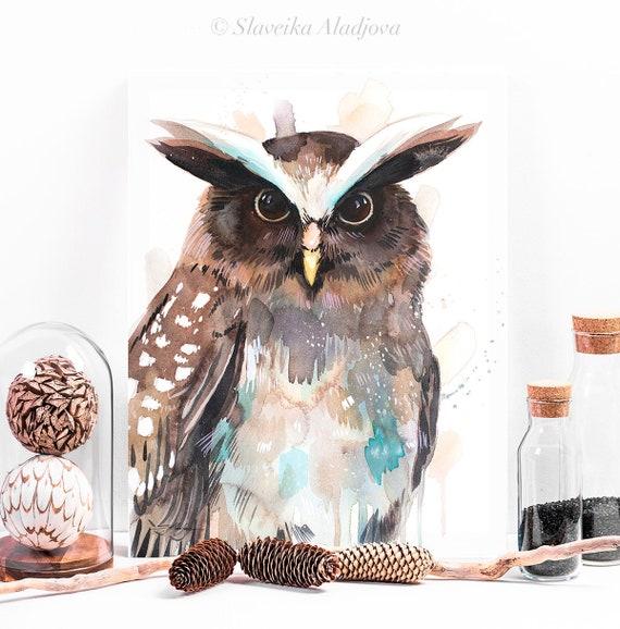 Crested owl watercolor painting print by Slaveika Aladjova, art, animal, illustration, bird, home decor, wall art, gift, portrait,