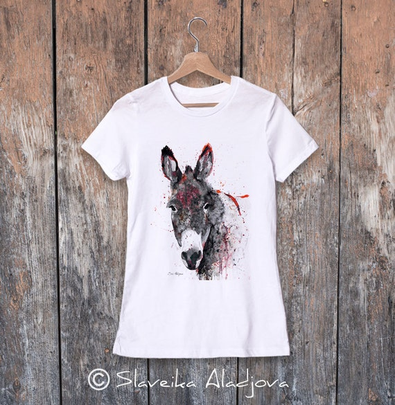 Donkey T-shirt, Donkey watercolor ladies' T-shirt, women's tees, Teen Clothing, Girls' Clothing, ring spun Cotton 100%, watercolor print