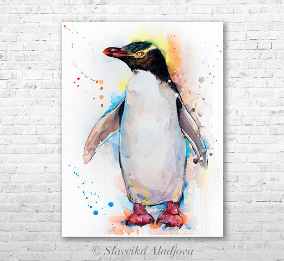 Yellow-eyed penguin watercolor painting print by Slaveika Aladjova, animal, illustration, Sea art, sea life art, nautical, ocean art, bird