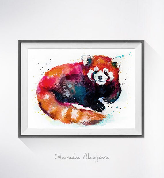 Original Watercolour Painting- Red panda art, animal, illustration, animal watercolor, animals paintings, animals, portrait,