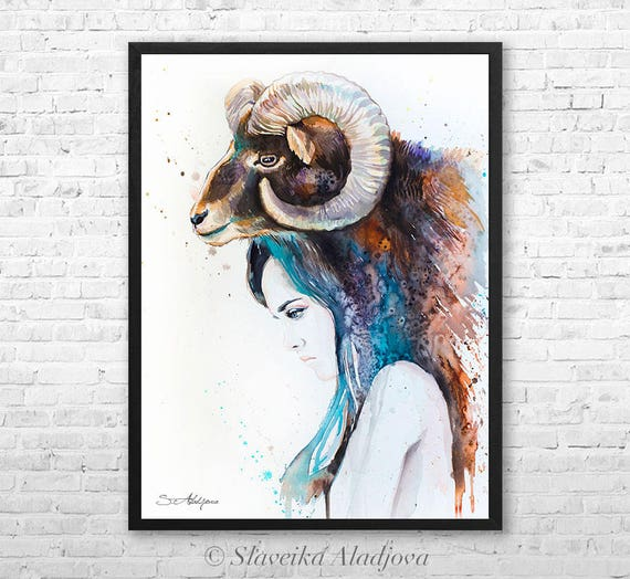 Watercolor painting, framed canvas, Mouflon Girl by Slaveika Aladjova, Limited edition, art, watercolor, animal illustration,bird art