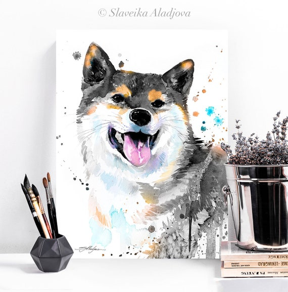 Black And Tan Shiba Inu watercolor painting print by Slaveika Aladjova, animal, illustration, home decor, Nursery, Contemporary, dog art
