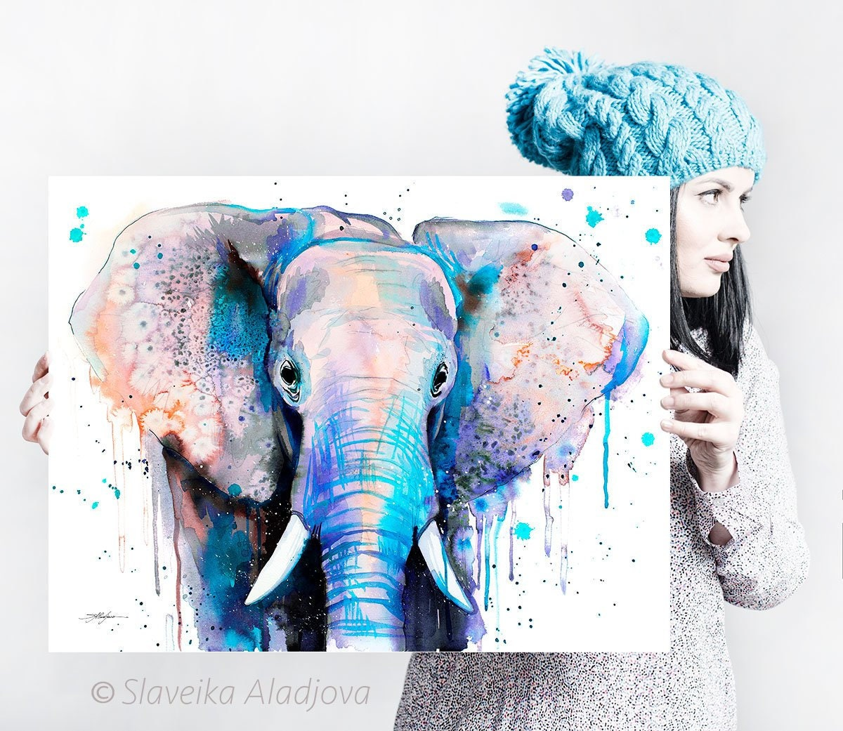 Blue Elephant Head watercolor painting print by Slaveika | Etsy