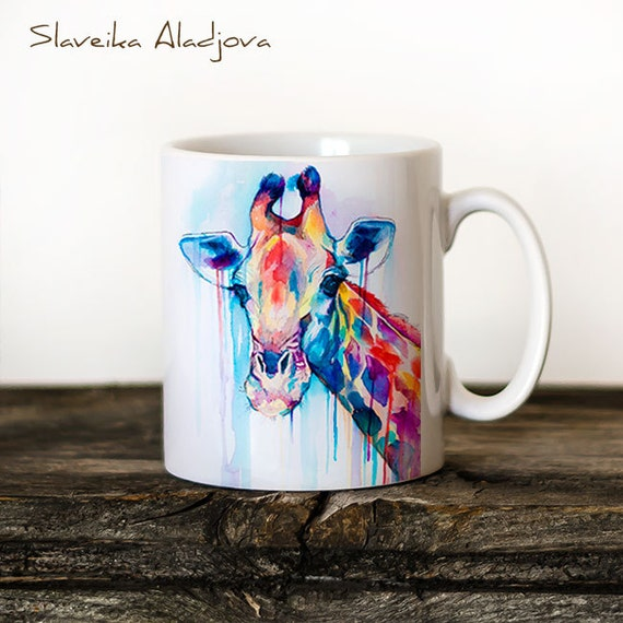 Giraffe Mug Watercolor Ceramic Mug Giraffe Unique Gift Coffee Mug Animal Mug Tea Cup Art Illustration Cool Kitchen Art Printed mug Giraffe